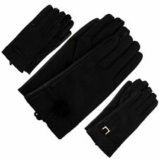 New Ladies Faux Leather Black Buckle Quilted Bow Pom Pom Winter Gloves