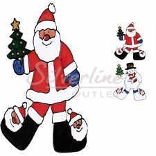 Christmas holiday Window Clings with Santa and Snowman - Seasonal Window Clings