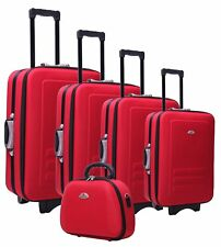 NEW 5pc Suitcase Trolley Travel Bag Luggage Set RED
