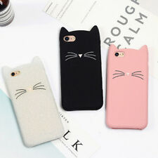 EP_ Cute 3D Cartoon Cat Ears Beard Soft Phone Case Shockproof Cover for iPhone 6