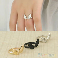 EP_ Retro Womens Fashion Angel Wing Shape Adjustable Jewelry Cuff Open Finger Ri