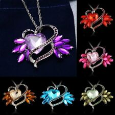 Fashion Love Heart Drop Crystal Necklace Pendant Long Chain Rhinestone Gift New