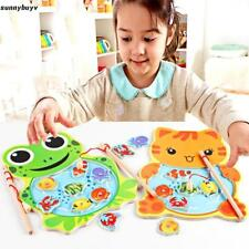 Baby Wooden Fishing Game Magnetic Puzzle Board Kids Jigsaw Puzzle LT8Z