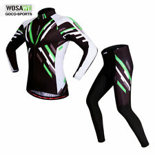Mens Summer Cycling Set Long Sleeve Jersey Padded Tights Pants Breathable Suit