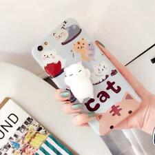 3D Cartoon Cute Soft Silicone Squishy Squeeze Cat  Cover Case for iPhone 7