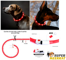 Dog Collar LED Light Flashing USB Rechargeable Waterproof For Pet Night Safety
