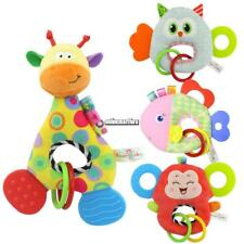 Baby Doll Toy With Teether Animal Stuffed Plush Rattle Ring Doll ONMF