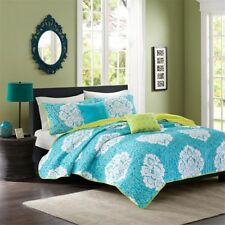 Teal Green & White Damask Reversible Coverlet Quilt Set AND Decorative Pillows