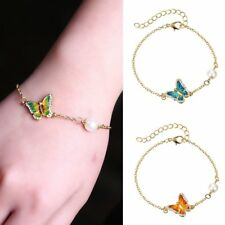 Fashion Butterfly Oil Crystal Pearl Bracelet Bangle Women Jewelry Party Gift Hot