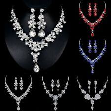 Fashion Crystal Pearl Pendant Necklace Earrings Women Bridal Wedding Jewelry Set