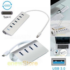 Type-C Aluminum USB 3.0 HUB 5Gbps High Speed AC Power Adapter For PC/Laptop/Mac