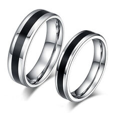 EP_ Men Women Black Band Ring Titanium Stainless Steel Jewelry Lover Gift Hot Co