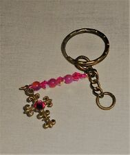 Imitation Pearls & Crystals Rhinestone Cross Key Ring with Chain