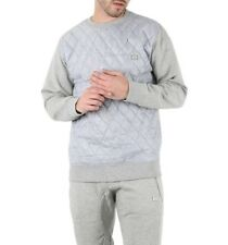 King Kouture Mens Quilted Crew Neck Sweatshirt Jumper in Grey HOODIE SIZE M