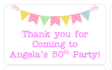 PERSONALISED STICKERS LABELS ADDRESS PARTY SWEETIE CONES BUNTING PINK
