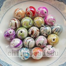30Pcs 14MM Iridescent Zebra Striped Acrylic Beads Smooth Round Loose Beads Charm