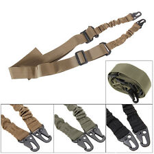 Outdoor Tactical Two 2 Dual Point Adjustable Bungee Rifle Gun Sling System Strap