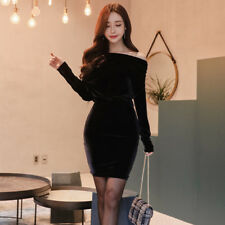 Sexy Inclined Shoulder Velvet Wrap Long Sleeve Dress For Woman