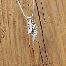 Sterling Silver Angel Wing Faith Charm Pendant Necklace 925 Sentiment Guardian