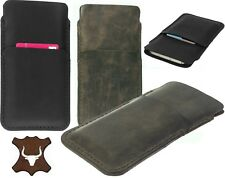 HAND STITCHED GENUINE LEATHER CASE COVER POUCH WITH CARD POCKET FOR APPLE IPHONE