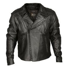 Xelement Armored Mens Black Classic Rider Blackout Leather Motorcycle Jacket