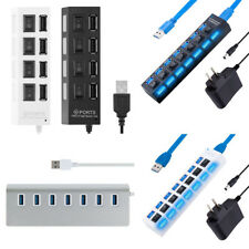 7port USB 2.0 3.0 HUB Power On/Off Switch High Speed Adapter Cable For PC Lot