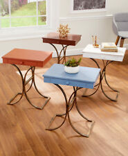 Modern Side/End Table Accent Accent Table Chairside Faux-Drawer Wood Coffee