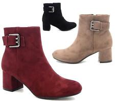 WOMENS LADIES LOW MID BLOCK HEEL ANKLE BOOTS CHELSEA FITTED CASUAL SHOES SIZE