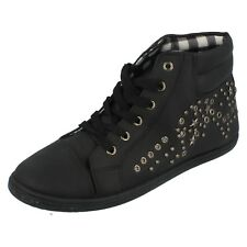Ladies F8957 Black Studded Lace-Up Hi-Top Trainers by Unbranded