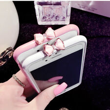 Lovely Pink Bling Glitter Diamond Metal Bowknot Bumper Case Cover for IPhone