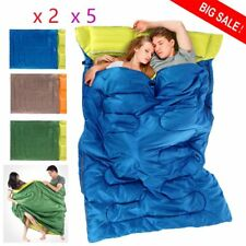 "US Huge 2 Person Double Sleeping Bag 23F/-5C Camping Hiking 86""x60"" & Pillows EK"