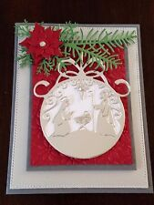 Christmas Card Kit: Nativity Ornament Glitter Foil Jesus Handmade cards set 4