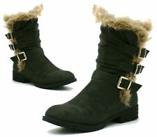 New Womens High Biker Mid Calf Ankle Boots Buckle Zip Up Fur Cuff Low Heel Shoes
