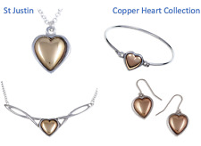Copper Heart Jewellery - Earrings - Bangle - Necklace Pendant - St Justin Pewter