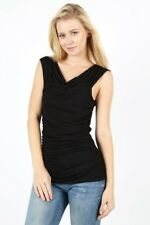 Sleeveless drap v-neck women's top plunge cleavage casual career solid top