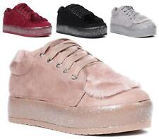 LADIES FAUX SUEDE CHUNKY GLITTER WEDGE FUR LACE UP WORK TRAINERS SNEAKERS SHOES