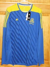 NWT MENS ADIDAS 2016 BOSTON MARATHON YELLOW AND BLUE LONG SLEEVED JERSEY