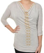Absolutely Famous Studded Embellished Sweater Draping Top Ruched Shirt Cowl Neck
