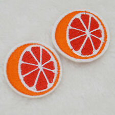 Cute Orange / red lemon Embroidered Cloth Iron On Patch Sew Motif Applique badge