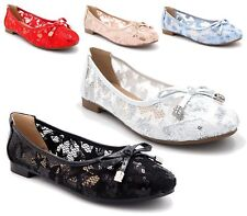 NEW WOMENS FLAT SEQUINED MESH PUMPS LADIES BALLET BALLERINA DOLLY SHOES SIZE