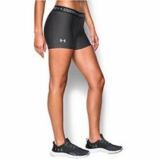 "Under Armour Women's HeatGear Armour 3"" Shorty, Carbon Heather/Anthracite, X-Sm"