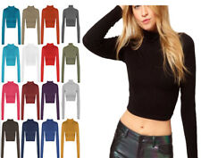 Ladies Girls Turtle High Neck Crop Long Sleeve Plain Polo Short Stretch Top 8-14