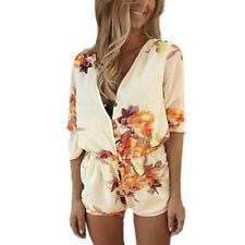 Women Summer Floral Rompers Short Jumpsuits Playsuit Bodysuit Overall Bodycon