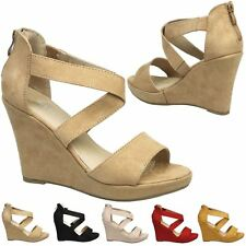 Nadine Womens High Heels Wedges Platforms Sandals Ladies Peep Toe Shoes Size New