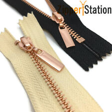 Metal Polished ROSE GOLD Teeth Zips No 3 Weight Zip - Closed End (RG3CE)