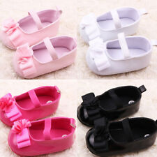 Mary Jane PU Leather Shoes Baby Girl Infant Flower Soft Sole Crib Shoes US