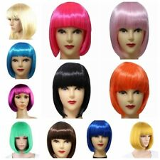 Women's Hairpiece Ladies Short Straight BOB Hair Full Bangs Wig Cosplay Party