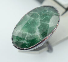 1 Pc Natural Green Aventurine Faceted Gemstone Stackable Women Fashion Ring