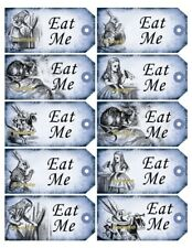 Alice in Wonderland 10 x Blue Gift Tag Food Label Party - Eat Me - Wedding Craft