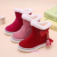 2018 N  Winter  Kids Girls Fleece Snow Boots Suede Ankle Non-Slip Toddlers Sweet